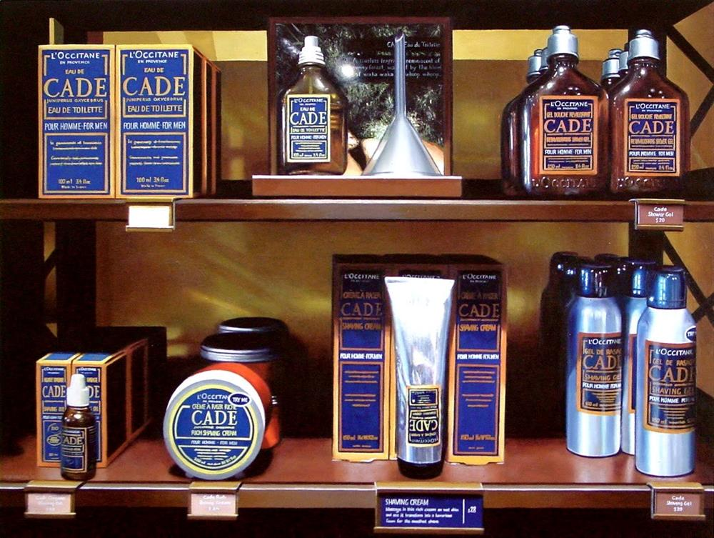 """""""Men's Lotion- Still Life Painting Of L'Occitane Cade Lotions And Aftershaves"""" original fine art by Gerard Boersma"""