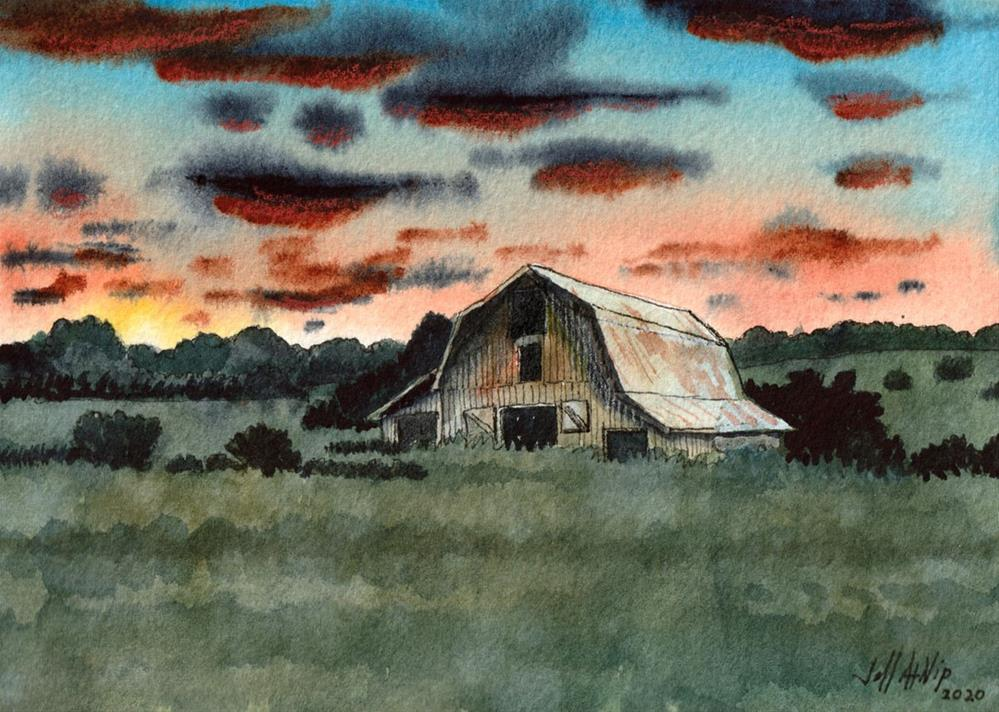 """Sunset Barn"" original fine art by Jeff Atnip"