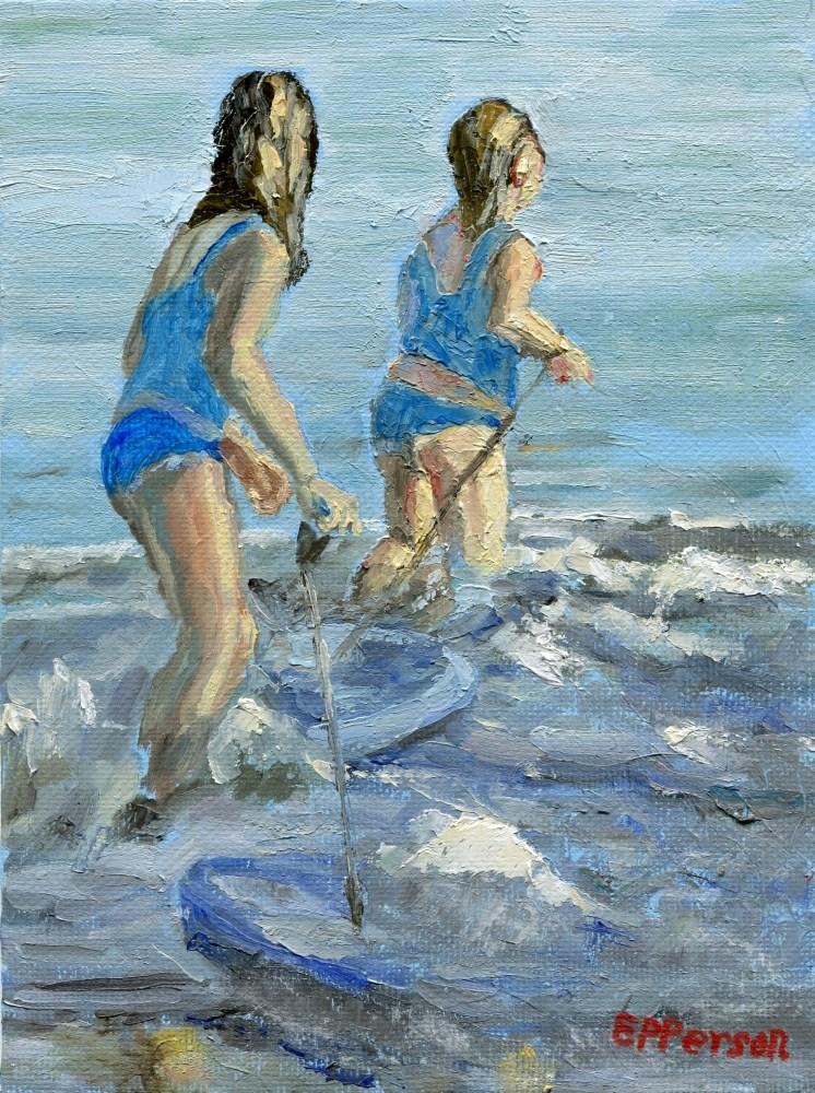 """Little Surfer Girls"" original fine art by Stanley Epperson"