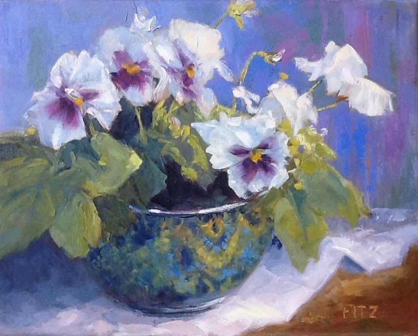 """""""Purple and white Pansies"""" original fine art by Jean Fitzgerald"""