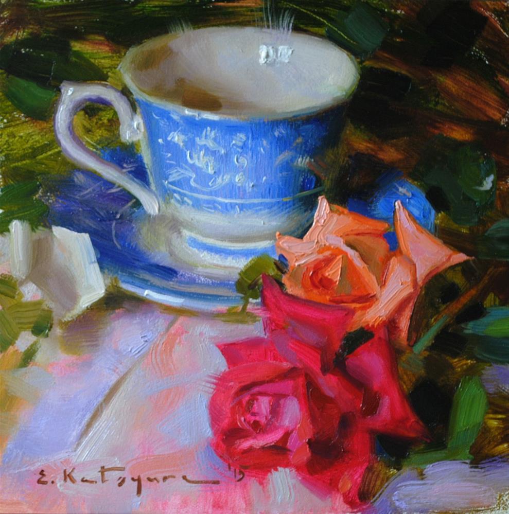"""Teacup and Roses"" original fine art by Elena Katsyura"