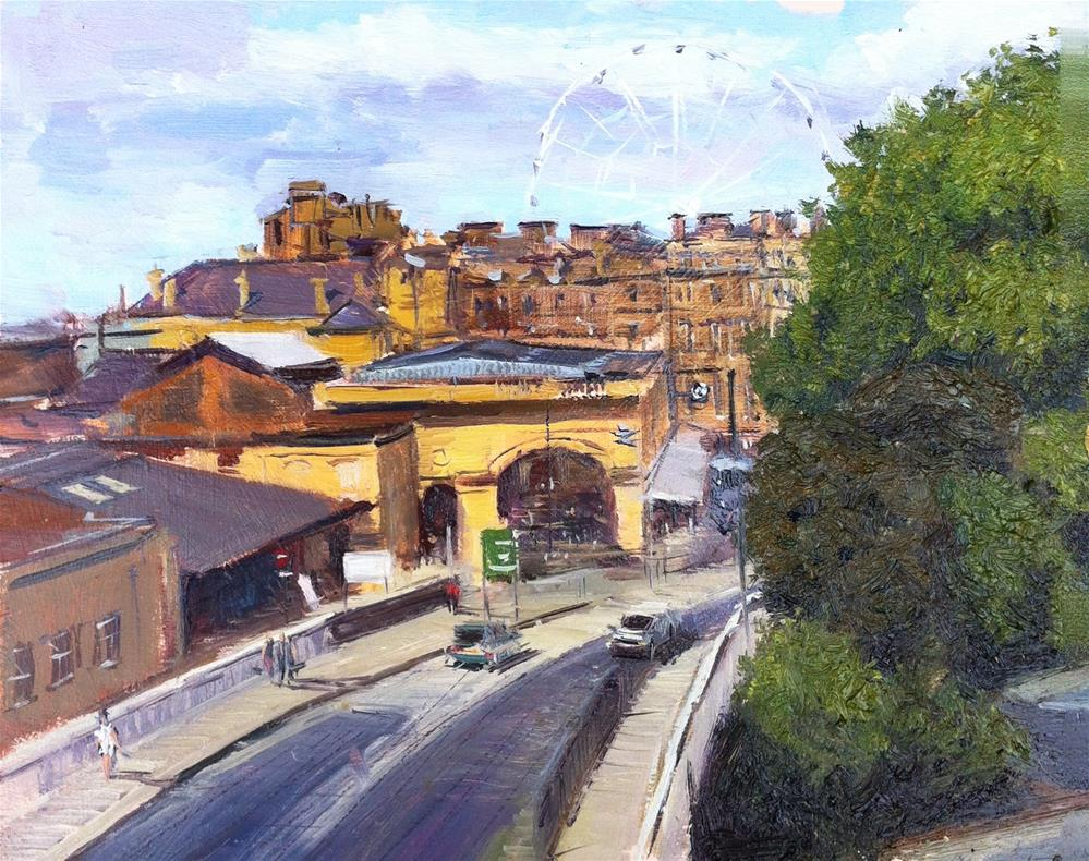 """York Railway station from the City walls"" original fine art by Adebanji Alade"