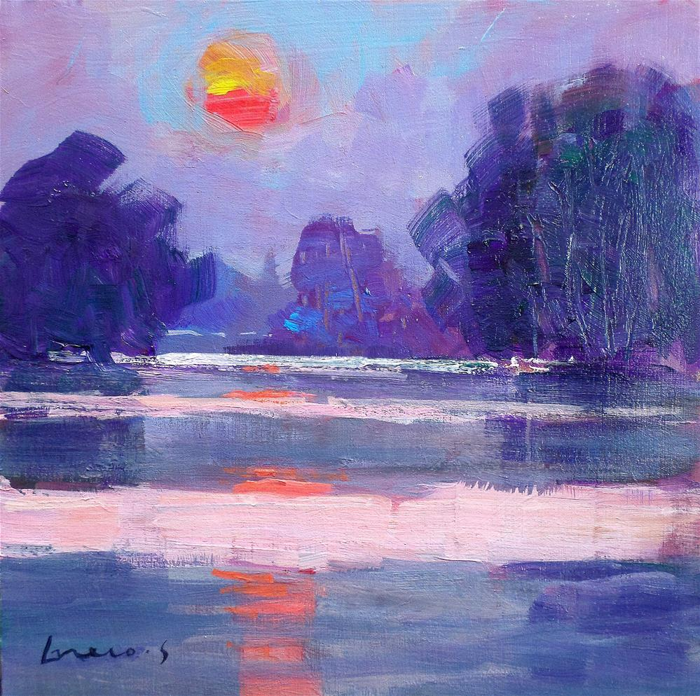 """""""Reflection on the pond"""" original fine art by salvatore greco"""