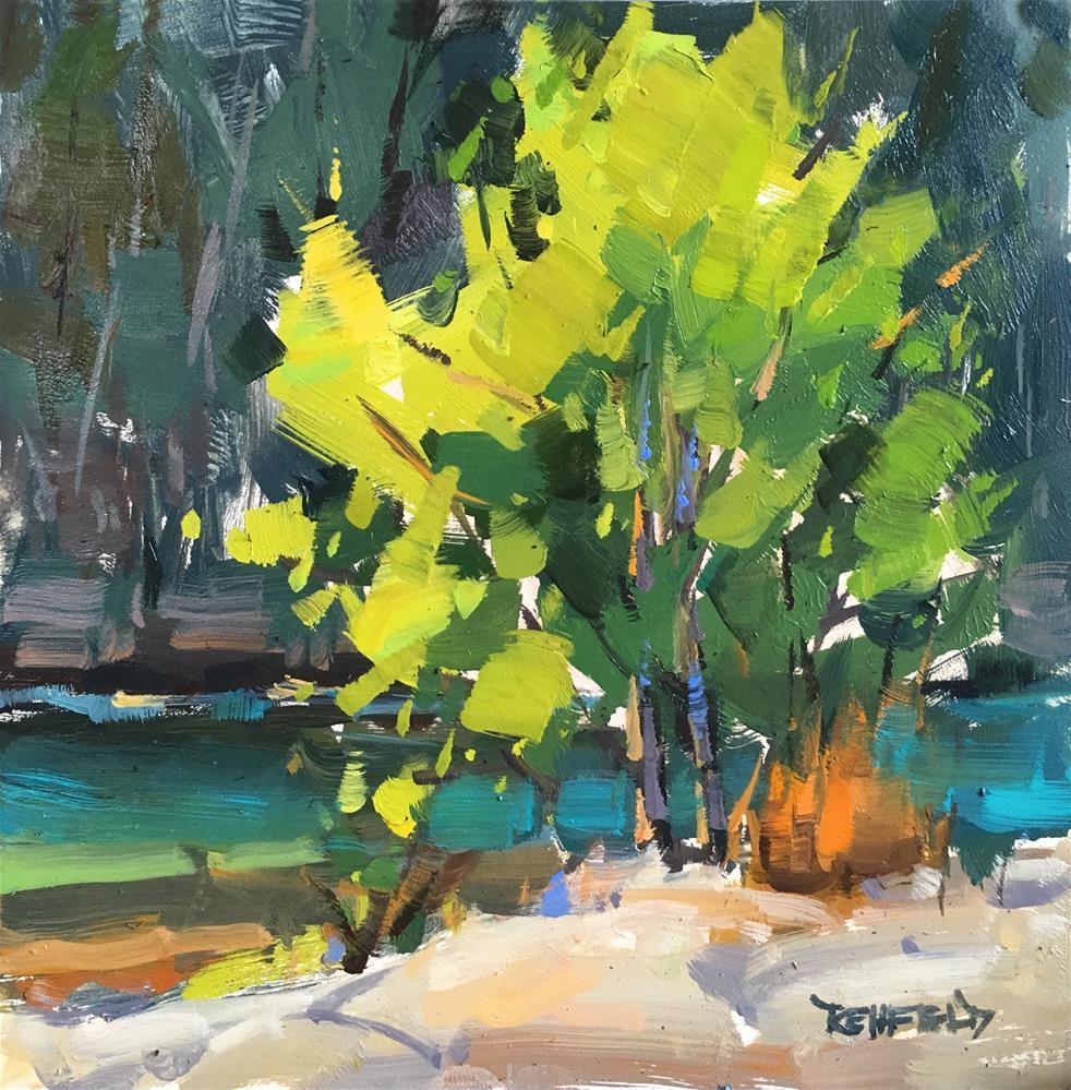 """Plein Air Tree By The River"" original fine art by Cathleen Rehfeld"
