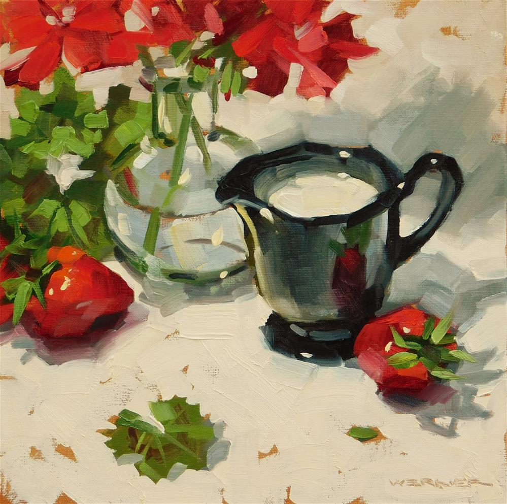 """""""Stawberries & Cream"""" original fine art by Karen Werner"""