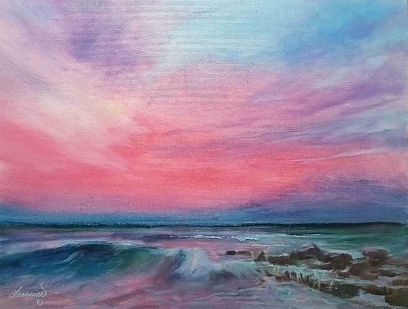 """Q-Magenta Sunset"" original fine art by Francine Dufour~Jones"