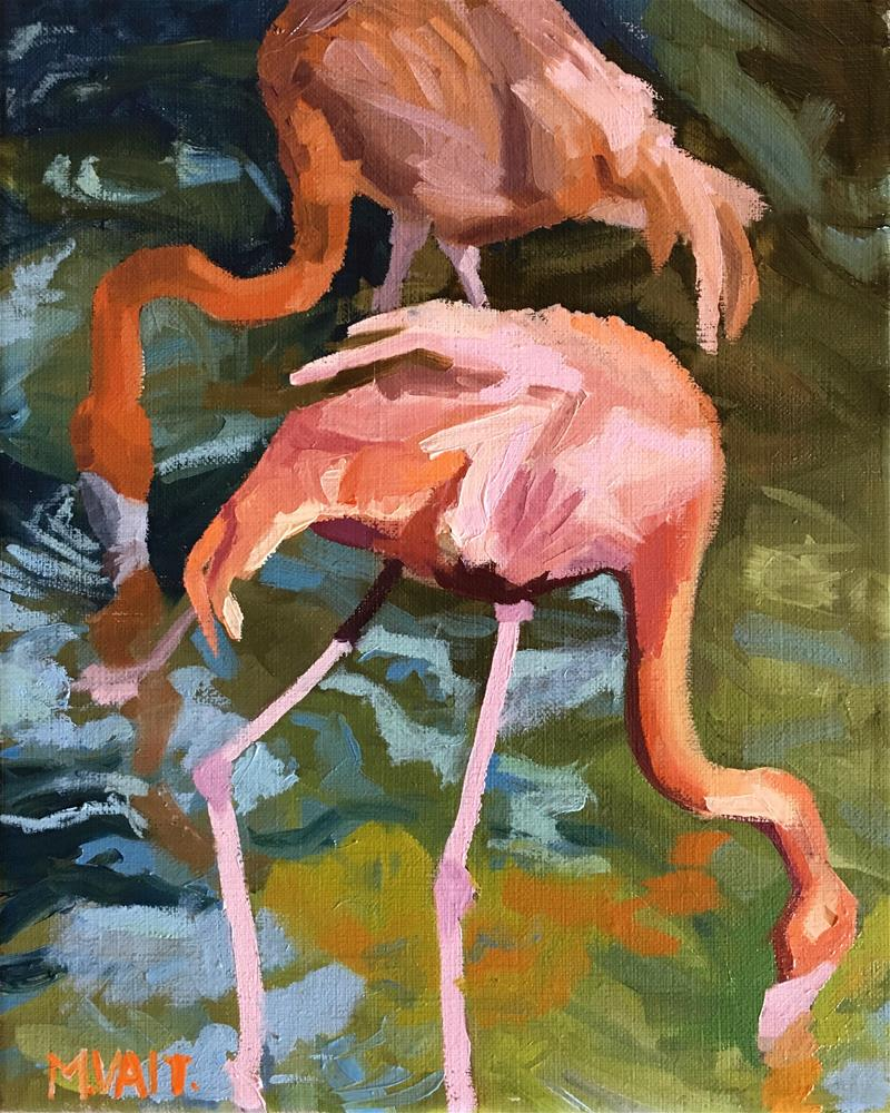 """Flamingos"" original fine art by Milda Vaitiekunaite"