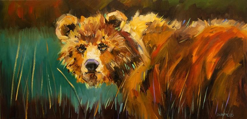 """""""In The Meadow Bear"""" original fine art by Diane Whitehead"""