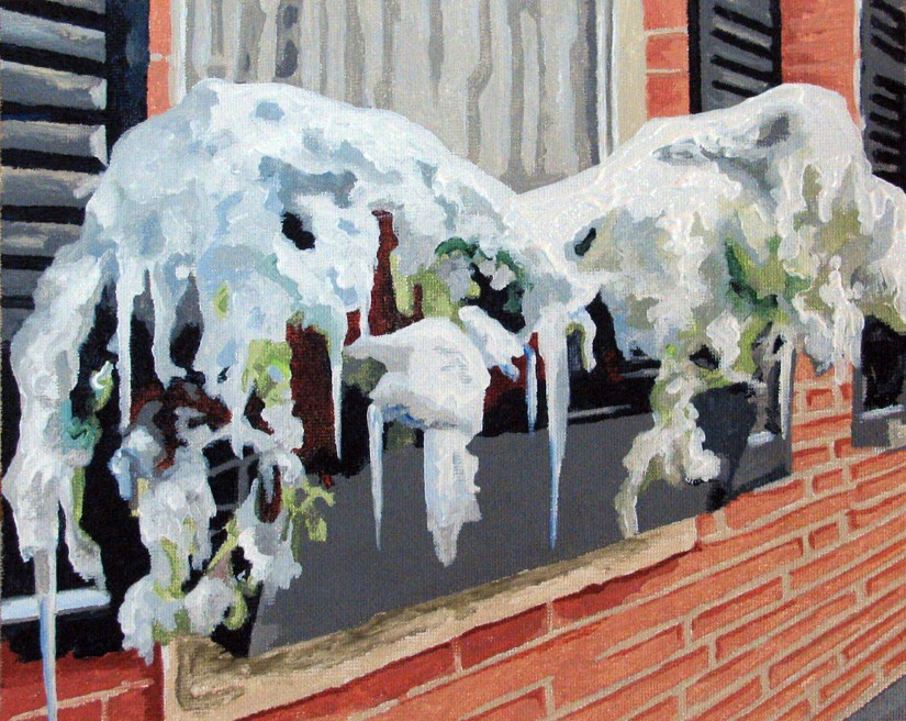 """Winter Window Boxes"" original fine art by Nan Johnson"