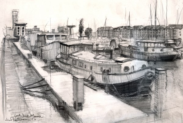 """Study of South Marina Docks"" original fine art by Adebanji Alade"