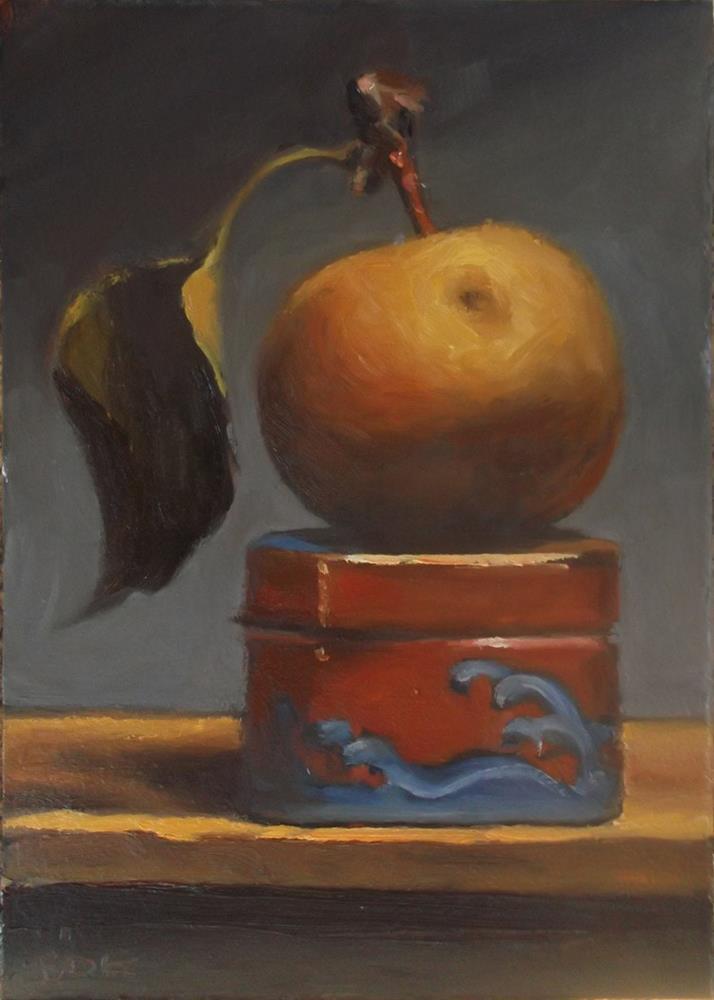 """Asian Pear on Ceramic Box"" original fine art by Karen Boe"