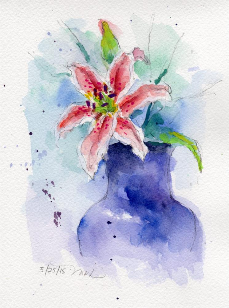 """Oriental Lily, watercolor"" original fine art by Marlene Lee"