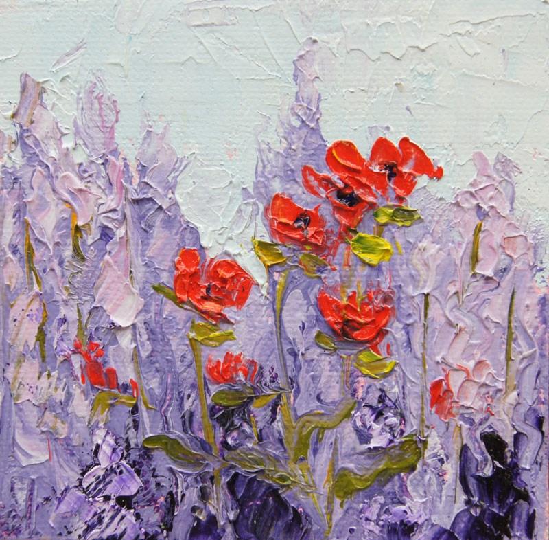 """Poppy Song  mini treasure palette knife painting 4x4"" original fine art by Marion Hedger"