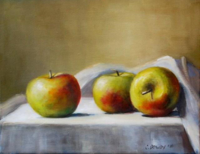 """Lady Apples on Linen"" original fine art by Christina Dowdy"