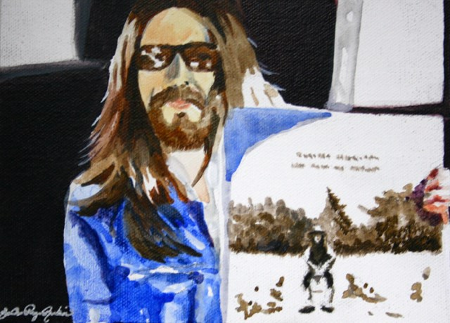 """George and his Masterpiece"" original fine art by JoAnne Perez Robinson"