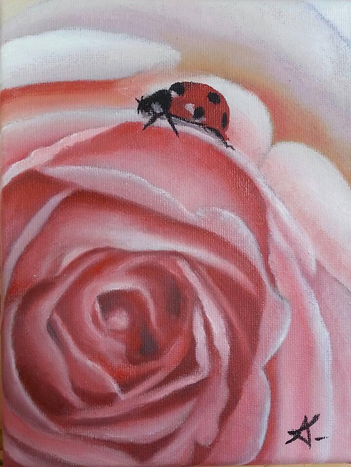 """A lady with a rose"" original fine art by Konstantia Karletsa"