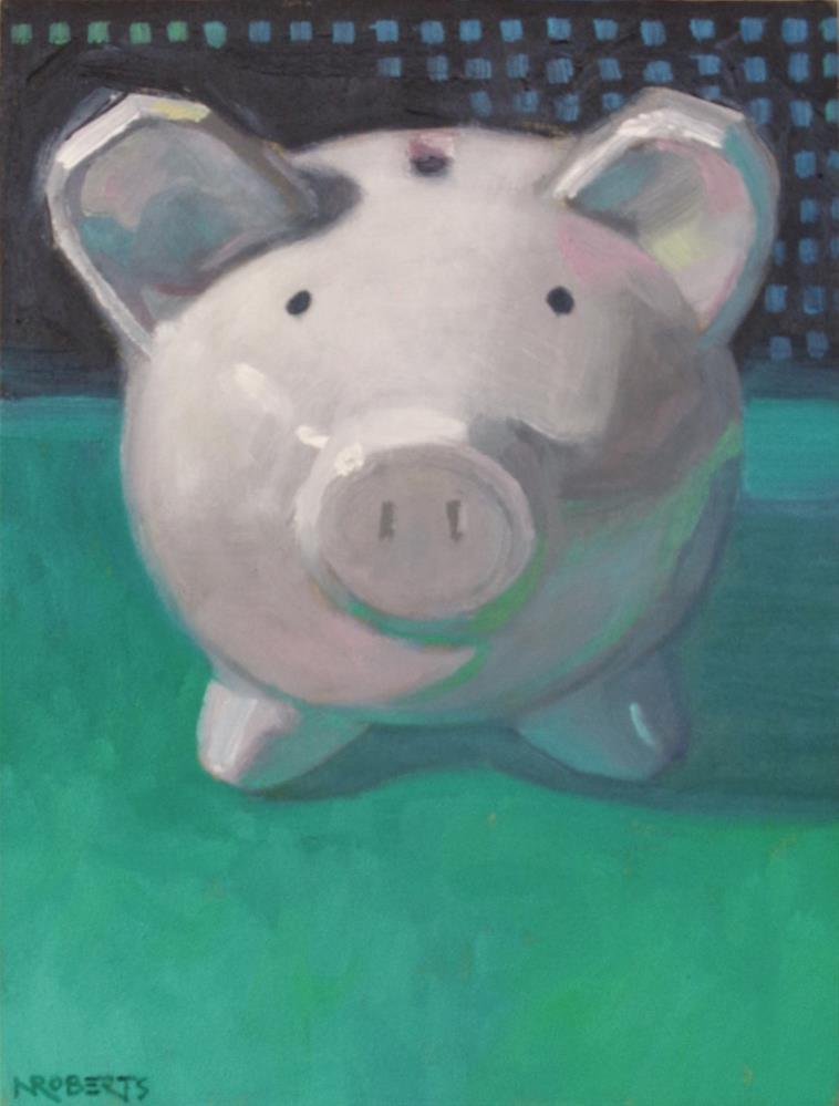 """""""Piggy on Green"""" original fine art by Nancy Roberts"""