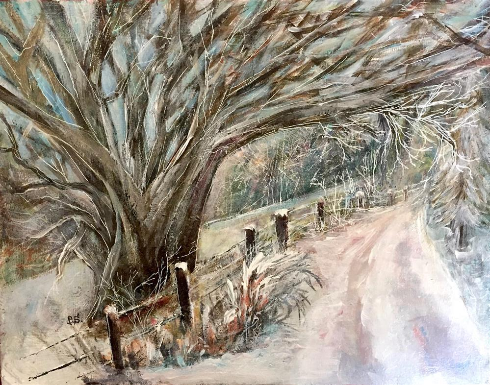 """""""11x14 Winter Road Icy Trees Forest Cold Ice Snowy day """" original fine art by Penny Lee StewArt"""