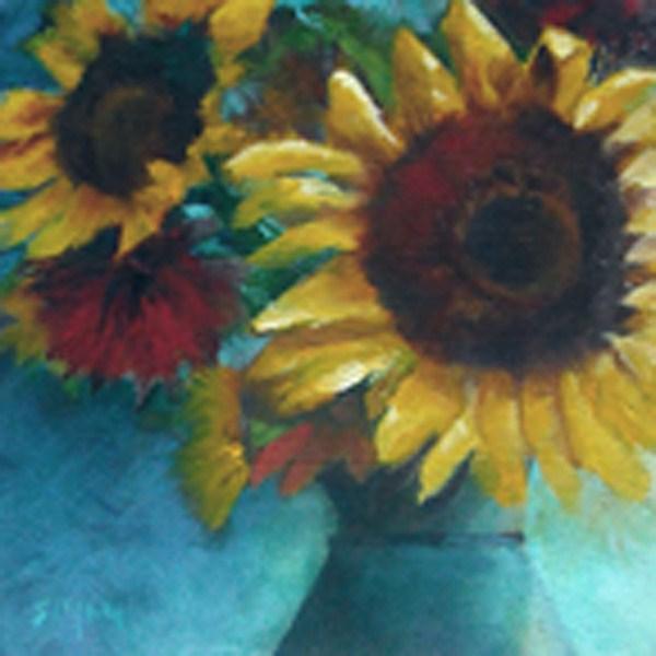 """""""Sunflower & Ceramic Vase"""" original fine art by A.K. Simon"""