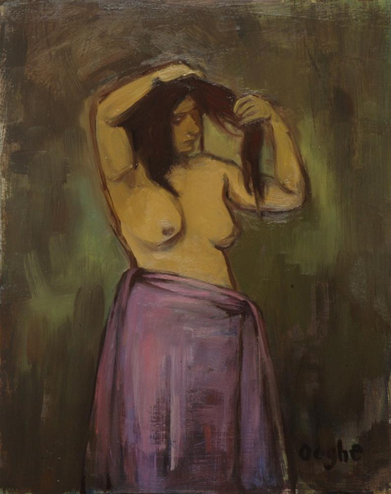 """""""Woman in Pink Sarong"""" original fine art by Angela Ooghe"""