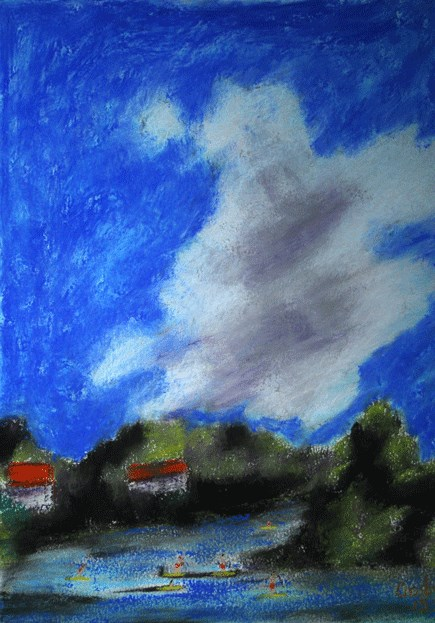 """Cloud Over Lady Bird Lake"" original fine art by Donna Crosby"