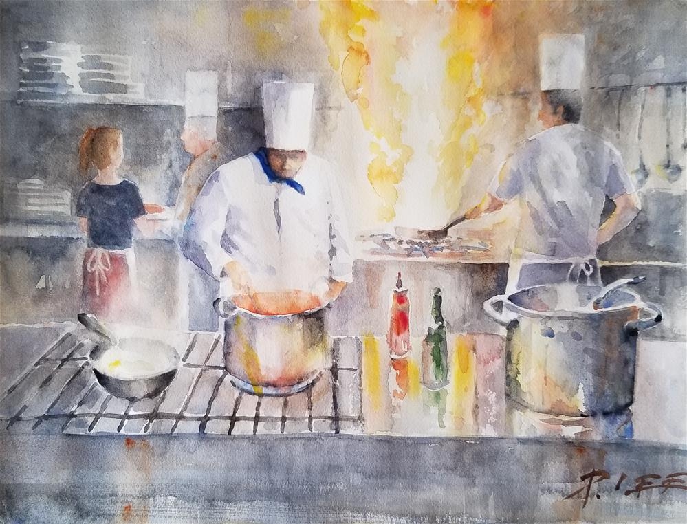 """""""Three Chefs"""" original fine art by Peter Lee"""