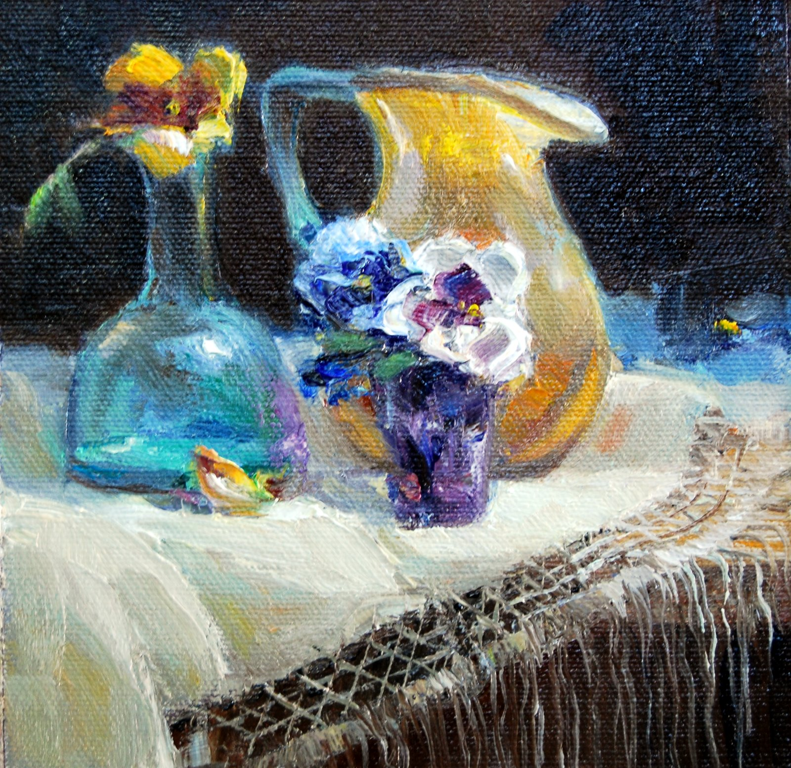 """Glass and Pansies"" original fine art by Julie Ford Oliver"