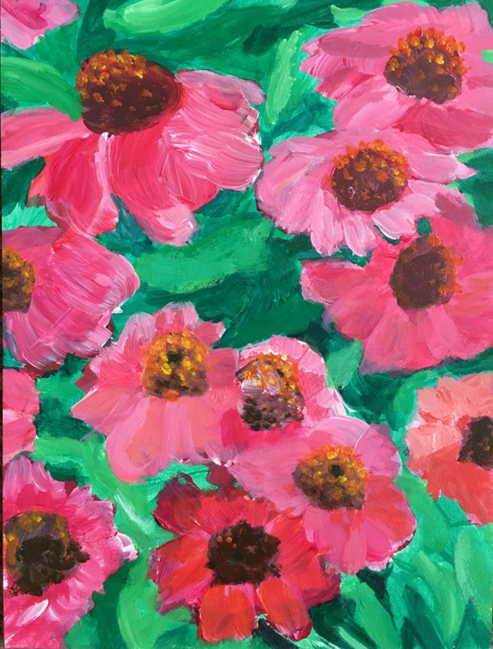 """Pink Flowers"" original fine art by Betsy Cook"
