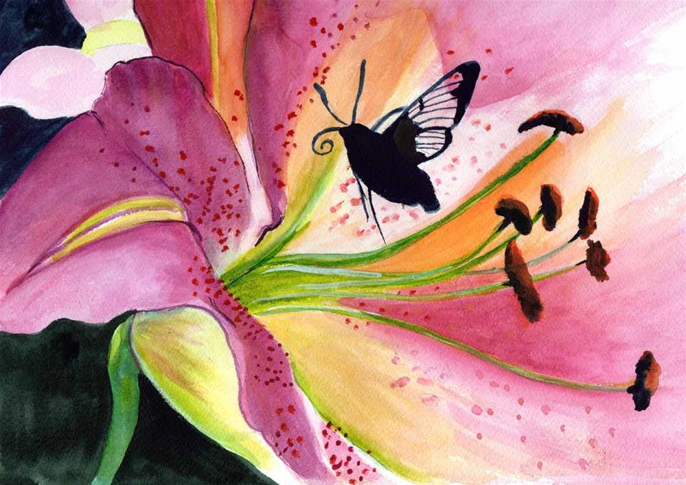 """""""Butterfly and Lily """" original fine art by Bunny Griffeth"""