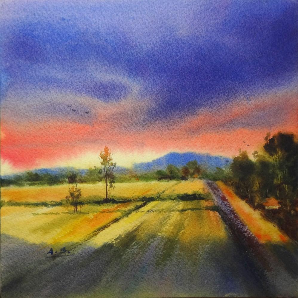 """California Sunset"" original fine art by Arena Shawn"