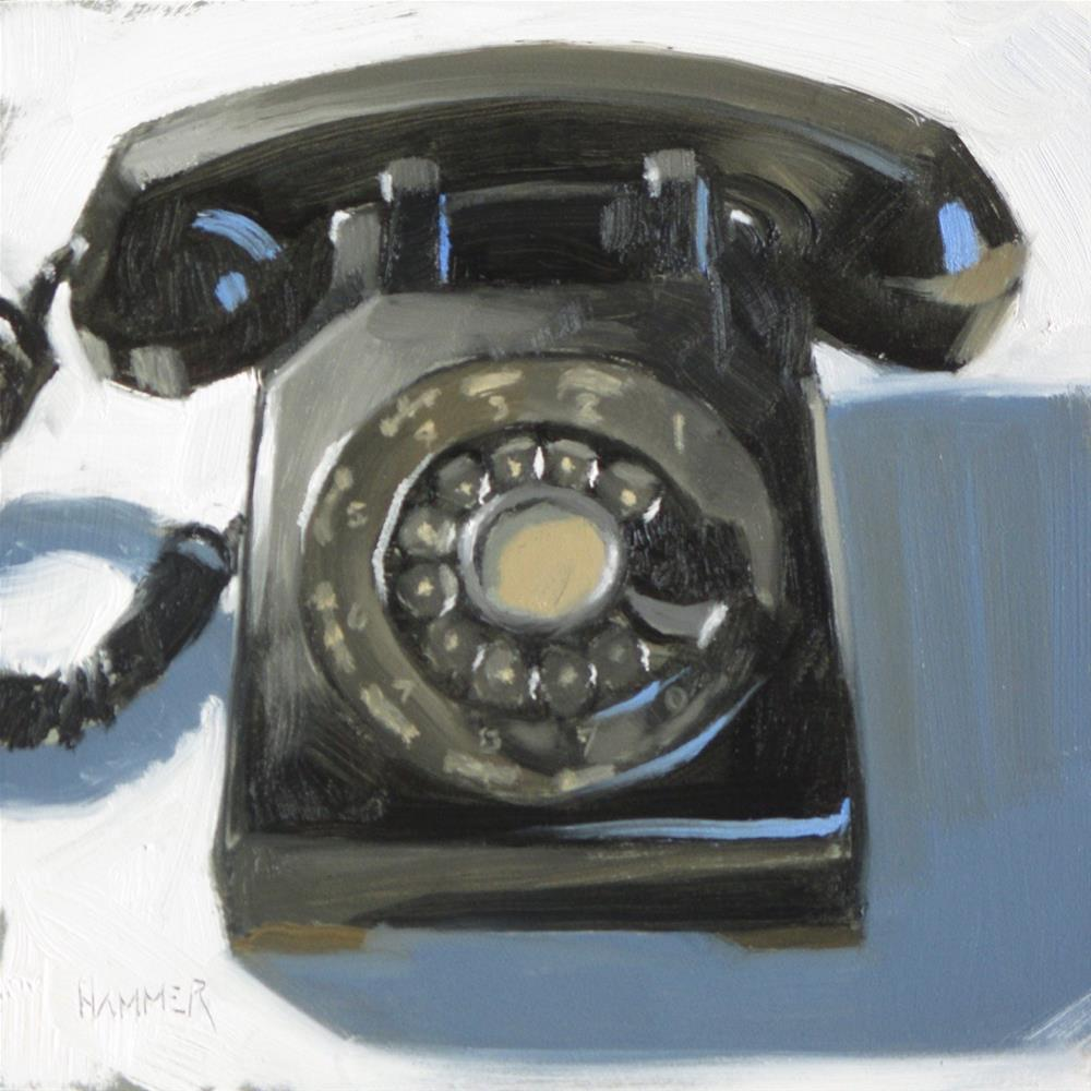 """Just a phone  6 x 6  oil"" original fine art by Claudia Hammer"