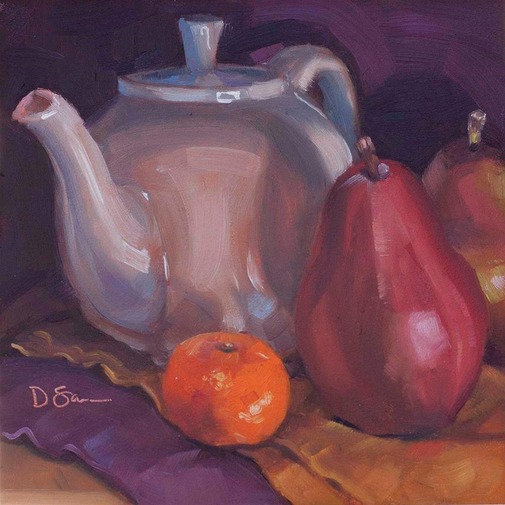 """""""Teapot Red Pears and a Clementine"""" original fine art by Deborah Savo"""