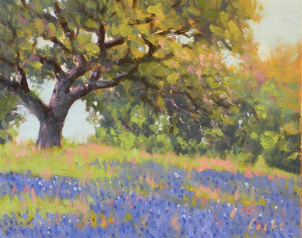 """Roadside Oak and Bonnets"" original fine art by David Forks"