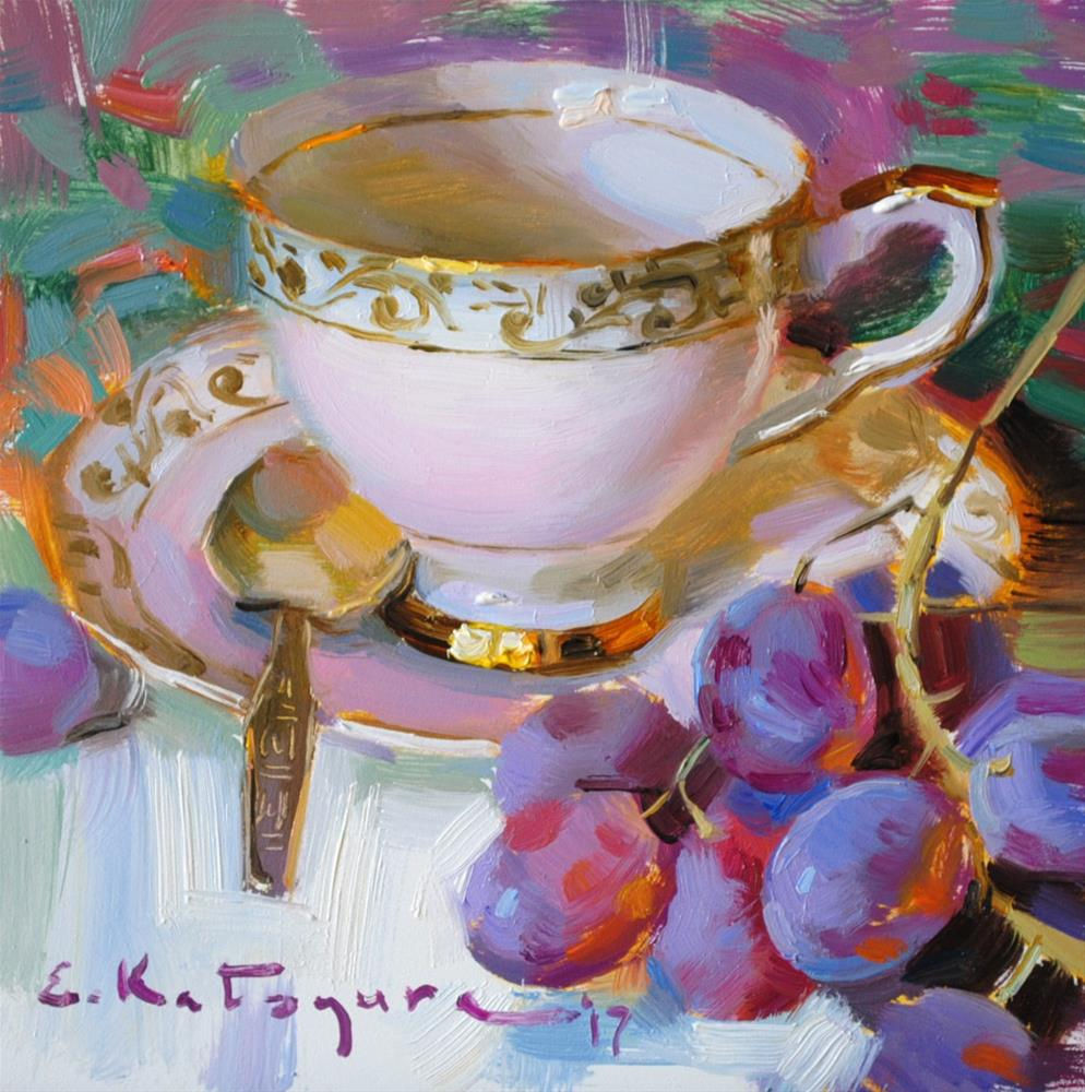 """Pink Teacup and Grapes"" original fine art by Elena Katsyura"