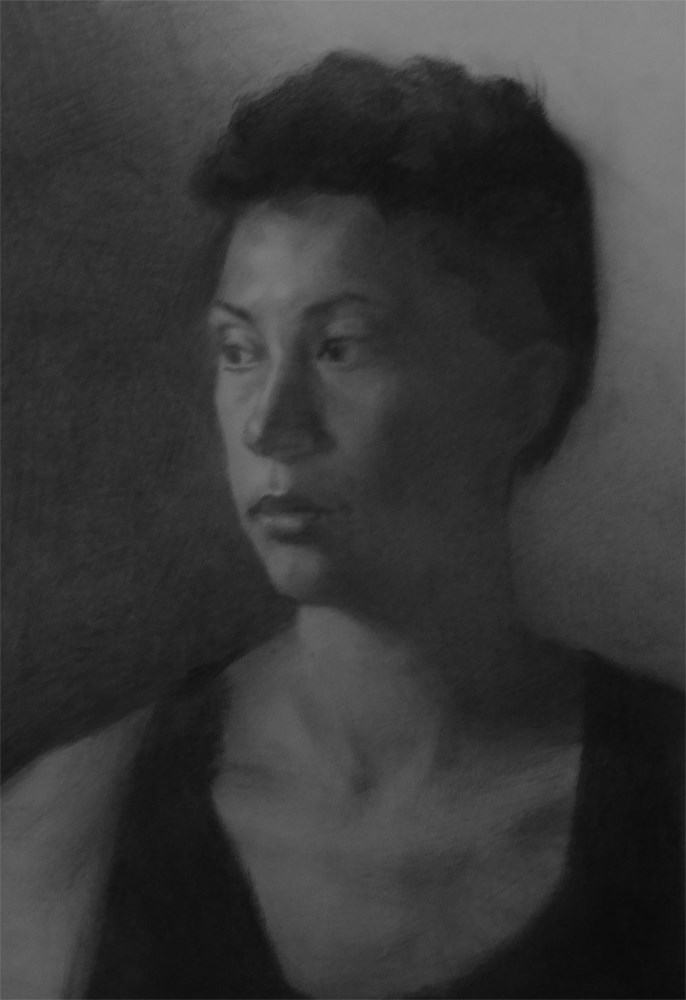"""Grit - Portrait of Danielle from Life"" original fine art by Arena Shawn"
