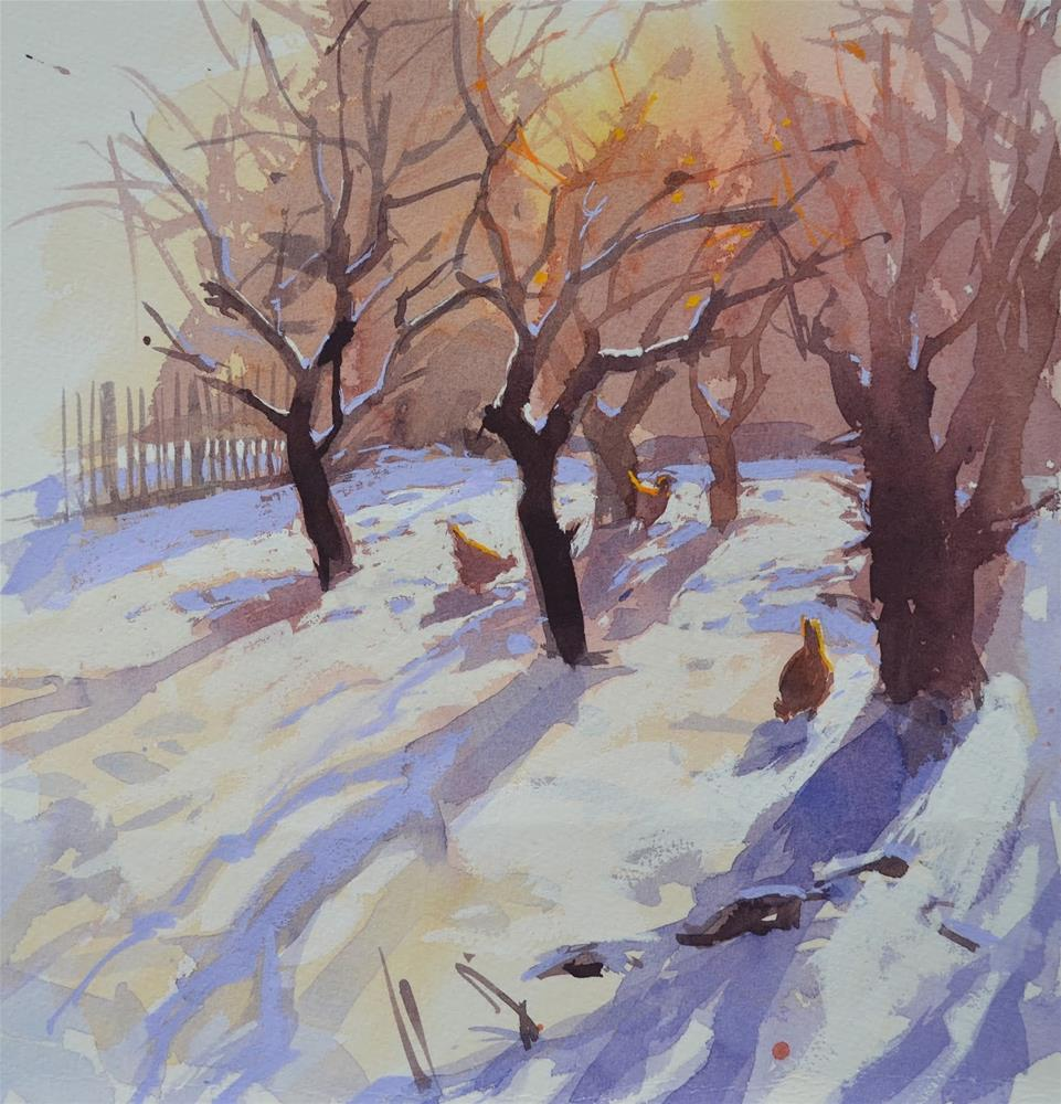 """""""Orchard in the snow"""" original fine art by Haidee-Jo Summers ROI"""