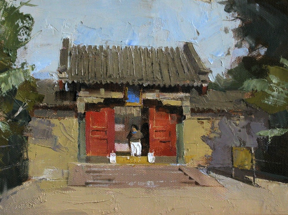 """Courtyard for the Queen"" original fine art by Qiang Huang"