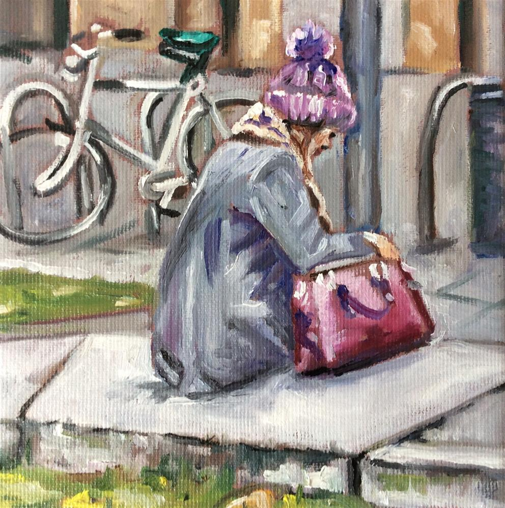 """Woman with bobblehat"" original fine art by Sonja Neumann"