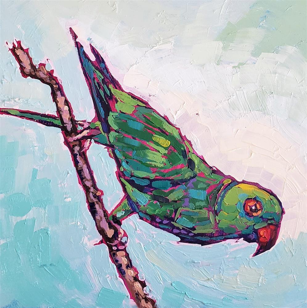 """Green Ringed Parrot"" original fine art by Bhavna Misra"
