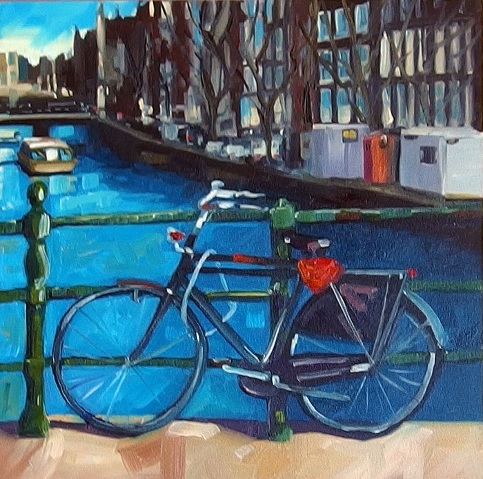 """""""No 739 The Bike over the Canal"""" original fine art by Robin J Mitchell"""