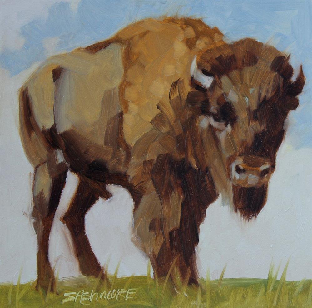"""One Ton Bison"" original fine art by Susan Ashmore"
