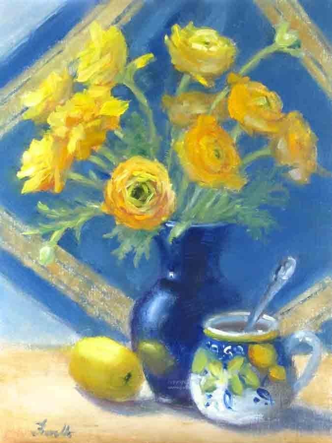 """""""Yellow and Blue"""" original fine art by Pat Fiorello"""