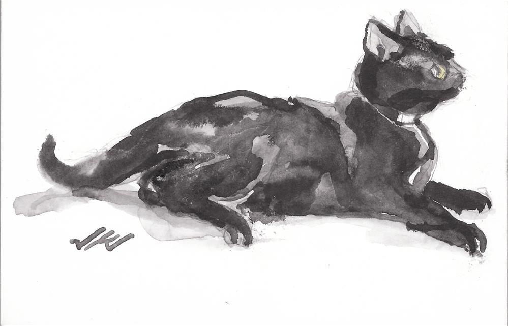 """Daily Cat 195"" original fine art by Jean Krueger"