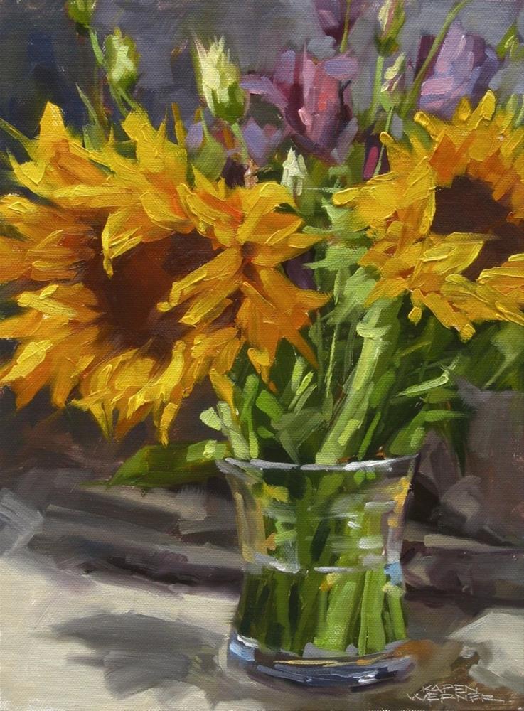 """Sunflowers & Violet"" original fine art by Karen Werner"