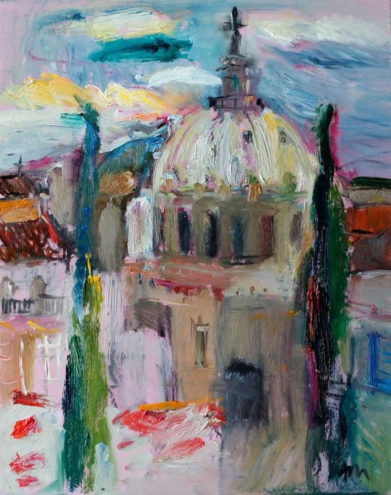 """""""View of Basilica of Our Lady of Charity  from the Roman Forum"""" original fine art by Anna Fine Art"""