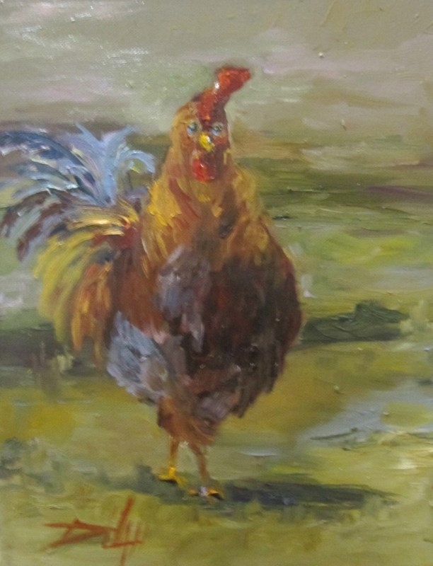 """""""Caesar the Rooster """" original fine art by Delilah Smith"""