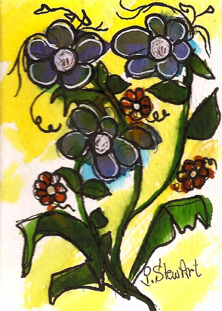 """ACEO Folk Art Flowers by Design Naive Art, Watercolor and Pen, Original"" original fine art by Penny Lee StewArt"