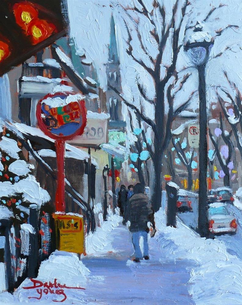 """716 Montreal Winter, rue St-Denis"" original fine art by Darlene Young"
