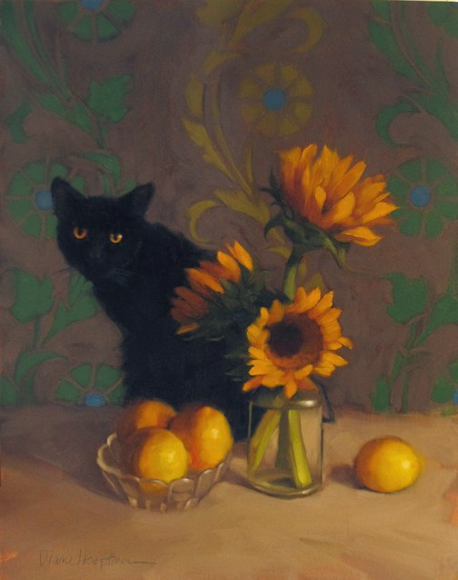 """Black Cat with Sunflowers"" original fine art by Diane Hoeptner"