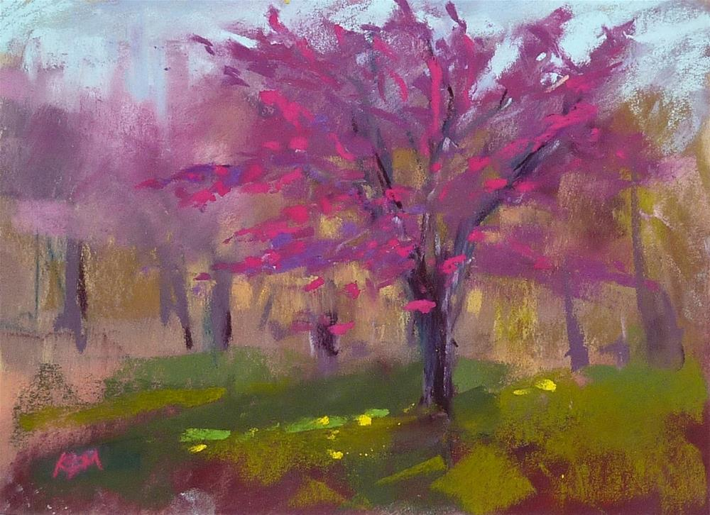 """Video Demo: A Quick Plein Air Painting of a Spring Flowering Tree"" original fine art by Karen Margulis"
